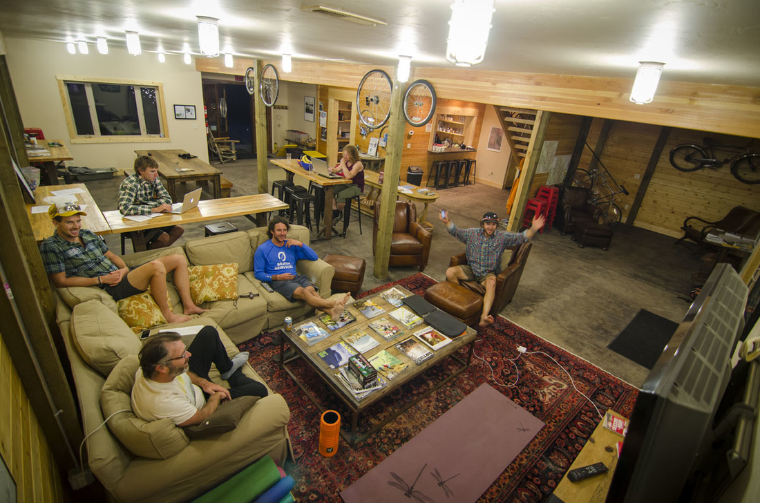 The interior of the Whitefish Bike Retreat is a great place to wind down after a day on the trail.